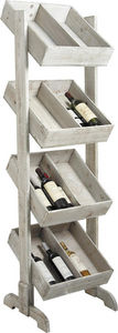 Aubry-Gaspard - présentoir à bouteilles 4 étages en bois vieilli - Bottle Rack