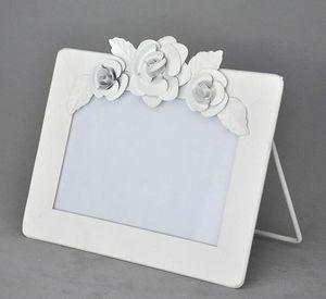 Demeure et Jardin - cadre blanc horizontal à fleurs - Photo Frame