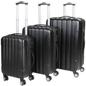 WHITE LABEL - lot de 3 valises bagage rigide noir - Suitcase With Wheels