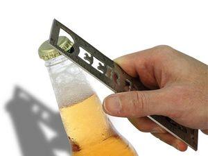 WHITE LABEL - règle décapsuleur métallique deco maison ustensile - Bottle Opener