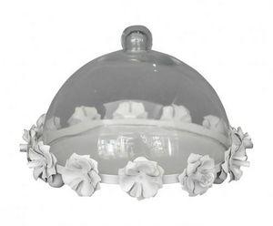 Demeure et Jardin - cloche à gateaux en tôle blanche - Cake Glass Dome
