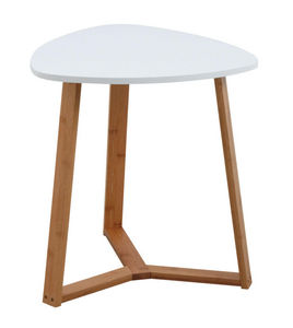 Aubry-Gaspard - table d'appoint en bois et mdf laqué blanc - Side Table