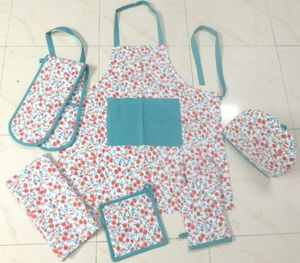 ITI  - Indian Textile Innovation - small flowers - turquoise - Kitchen Apron