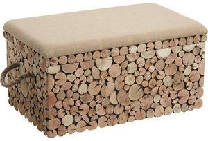 Aubry-Gaspard - coffre banc rondins grand modèle - Blanket Chest