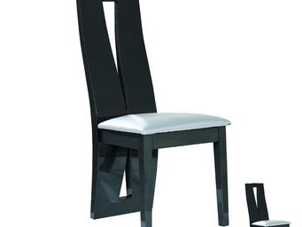 WHITE LABEL - duo de chaises gris anthracite/taupe - stripe - l - Chair