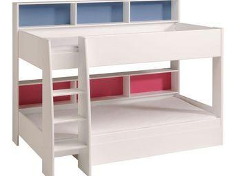 WHITE LABEL - lit superposé 90*200 cm blanc - funny - l 209 x l - Children Bunk Bed