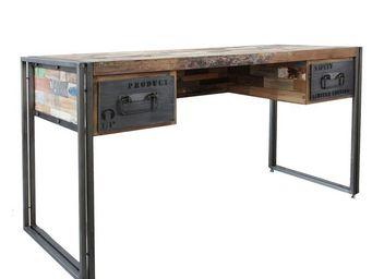 WHITE LABEL - bureau en bois - industry - l 120 x l 60 x h 80 - - Desk