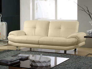 WHITE LABEL - canapé cuir 3 places swan - 3 Seater Sofa