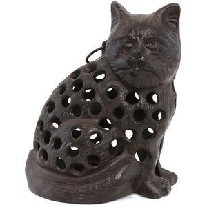 CHEMIN DE CAMPAGNE - statue chat photophore bougeoir lanterne en fonte  - Candle Jar