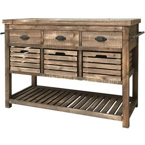CHEMIN DE CAMPAGNE - table console bahut enfilade style billot campagne - Kitchen Island