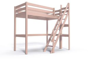 ABC MEUBLES - abc meubles - lit mezzanine sylvia avec escalier de meunier bois rose pastel 90x200 - Others Various Bedroom Furniture
