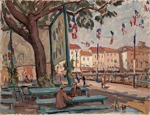 Robert C. NOORTMAN - 14 juillet dans le port de marseille  - Oil On Canvas And Oil On Panel
