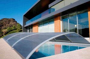 Fabric swimming pool shelter