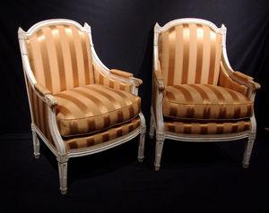 Philippe Vichot - paire de bergères louis xvi en bois scul - Wingchair