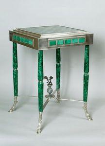 La Tour Camoufle - table russe en argent, malachite et pierres orneme - Games Table