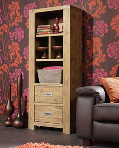 INWOOD - bibliothèque 2 tiroirs en acacia nevada 65x35x165c - Free Standing Furniture
