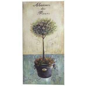 CHEMIN DE CAMPAGNE - tableau cadre en bois peint buis vasque médicis 85 - Decorative Painting