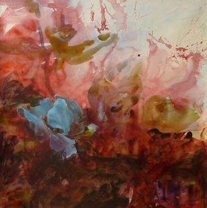 Fabienne Colin - fleur bleue - Contemporary Painting