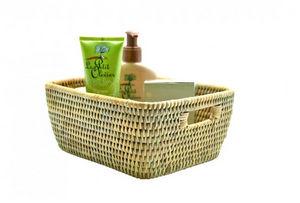 ROTIN ET OSIER - tavoy blanc cérusé - Bathroom Basket