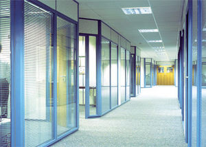 Avon Partitioning Services - floor to doorhead double glazed with blinds - Office Partition