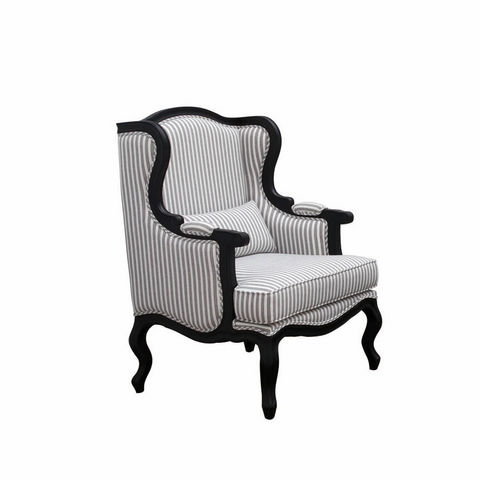 INTERIOR'S - Wingchair with head rest-INTERIOR'S-Fauteuil Césarine tissu rayé