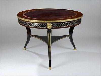 ANTOINE CHENEVIERE FINE ARTS - Round coffee table-ANTOINE CHENEVIERE FINE ARTS-Library table