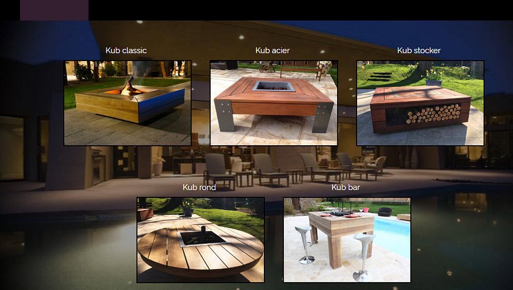 KUB OUTDOOR Tisch mit Feuerstelle Gartentische Gartenmöbel  |
