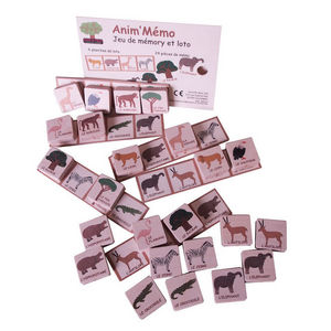 ANIM'EN BOIS - jeu de mémory et loto anim'mémo savane (3-6 ans) - Antikspielzeug