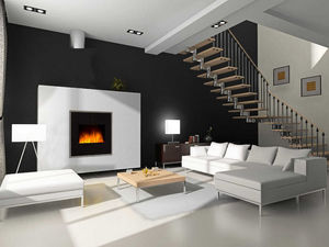 CHEMIN'ARTE - cheminée design black river en acier et verre trem - Geschlossener Kamin
