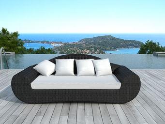 BARCLER - canapé de jardin en résine tressée ronde noire 195 - Gartengarnitur