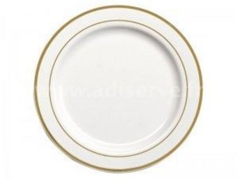 Adiserve - assiette blanche filets or 26 cm par 20 couleurs o - Einweggeschirr