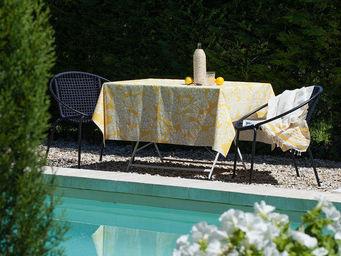 FLEUR DE SOLEIL - nappe enduite hortensia jaune 160x160 - Rechteckige Tischdecke
