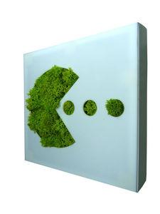FLOWERBOX - tableau végétal picto pac-man en lichen stabilisé  - Vegetarische Gemälde