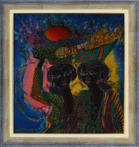 LIGHT MY ART - « femmes au marché » © par darmo. - Zeitgenössische Gemälde