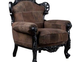 ZUIVER - fauteuil zuiver king patch, néobaroque marron. - Niederer Sessel