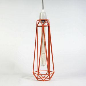 Filament Style - diamond 2 - suspension orange câble gris ø12cm | l - Deckenlampe Hängelampe