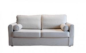 Home Spirit - canapé fixe piccolo 2 places tissu tweed blanc - Sofa 2 Sitzer