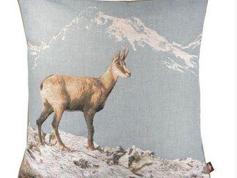 Art De Lys - chamois en hiver, fond bleu - Kissen Quadratisch