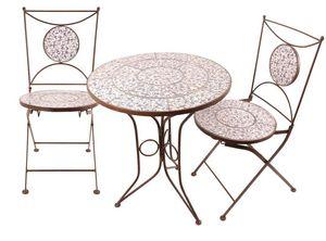 Esschert Design - table et chaises jardin fer forgé céramique 2 pers - Gartengarnitur