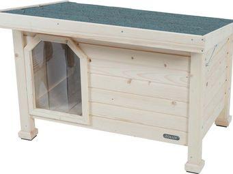 jardindeco - niche en bois à toit plat large - Hundehütte
