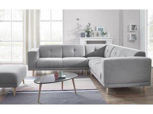 BOBOCHIC - canapé panoramique fixe avec pouf luna gris - Andere Sofas