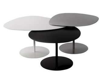 comin'design - table basse 3 galets - Runder Couchtisch