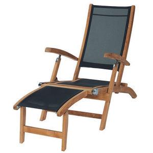 Maisons du monde - chaise longue noire capri - Garten Liegesthul
