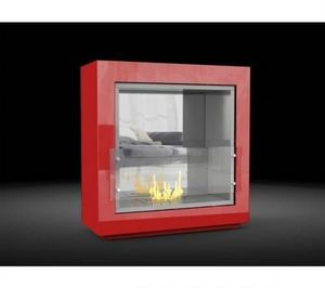 WHITE LABEL - chemine mirror fire rouge au bio-ethanol poser +  - Kamin Ohne Rauchabzug