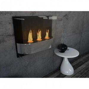 WHITE LABEL - chemine thanol light fire noir - Kamin Ohne Rauchabzug