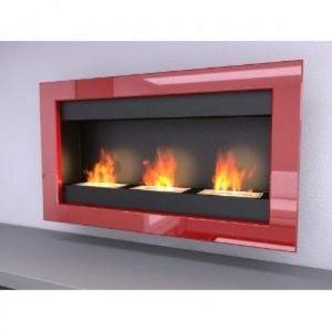 WHITE LABEL - chemine bio thanol 3 fire rouge laque - Kamin Ohne Rauchabzug