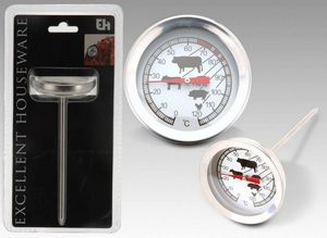 WHITE LABEL - thermométre à viandes en acier inoxydable - Ofenthermometer