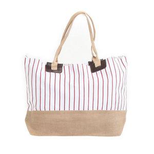 WHITE LABEL - grand sac cabas à rayures pochette unie fond rayé - Strandtasche