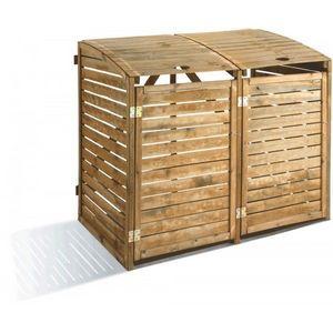 JARDIPOLYS - cache poubelles double en pin sylvestre jardipolys - Mülleimer Schutz