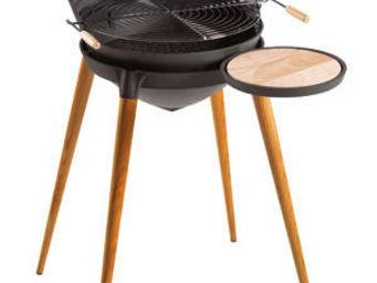 INVICTA - barbecue shogun en fonte et pieds en bois 86x71x92 - Holzkohlegrill